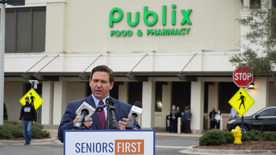 Florida Gov. Ron DeSantis speaking in front of the Sawgrass Village Publix in Ponte Vedra Beach.