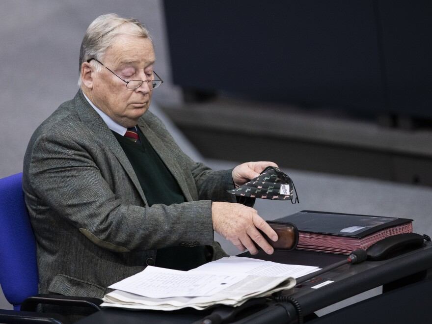 "AfD parliamentary leader Alexander Gauland, shown here in the Bundestag on Oct. 29, has described the German government as a ""corona dictatorship"" with a ""war-cabinet"" attacking the basic rights and freedoms of the German people."
