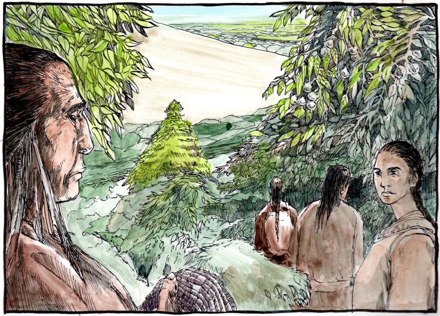 Conestoga Indians walk into the woods.