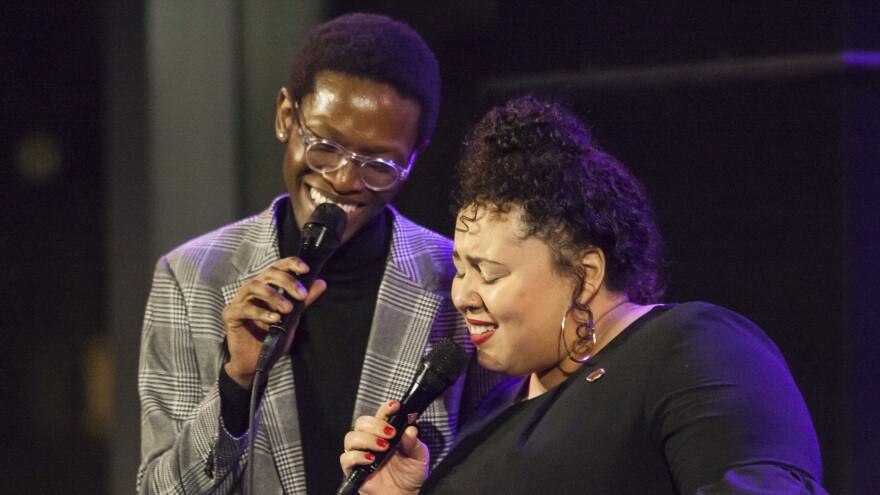 Vuyo Sotashe (L) and Brianna Thomas (R) perform at Jazz at Lincoln Center.