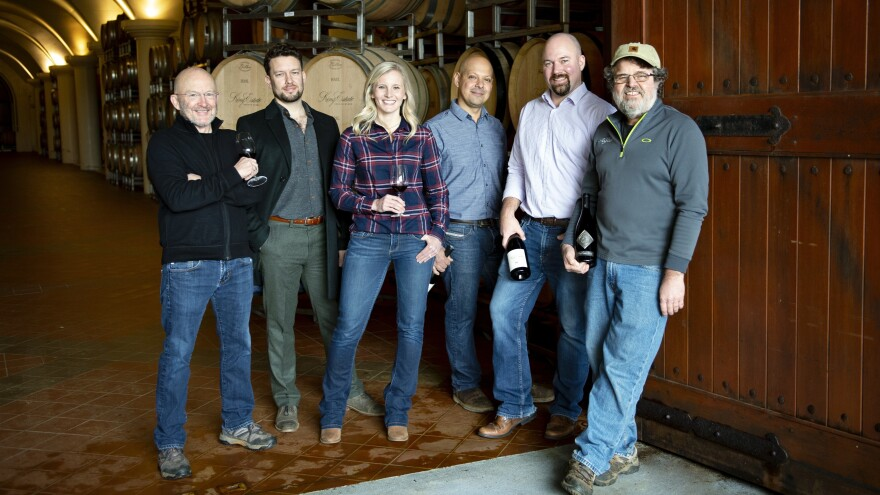 Members of the Oregon Solidarity project include (from left) Ed King and Justin King of King Estate Winery; Christine Clair and Joe Ibrahim of Willamette Valley Vineyards, and Brent Stone and Ray Nuclo, also of King Estate Winery.