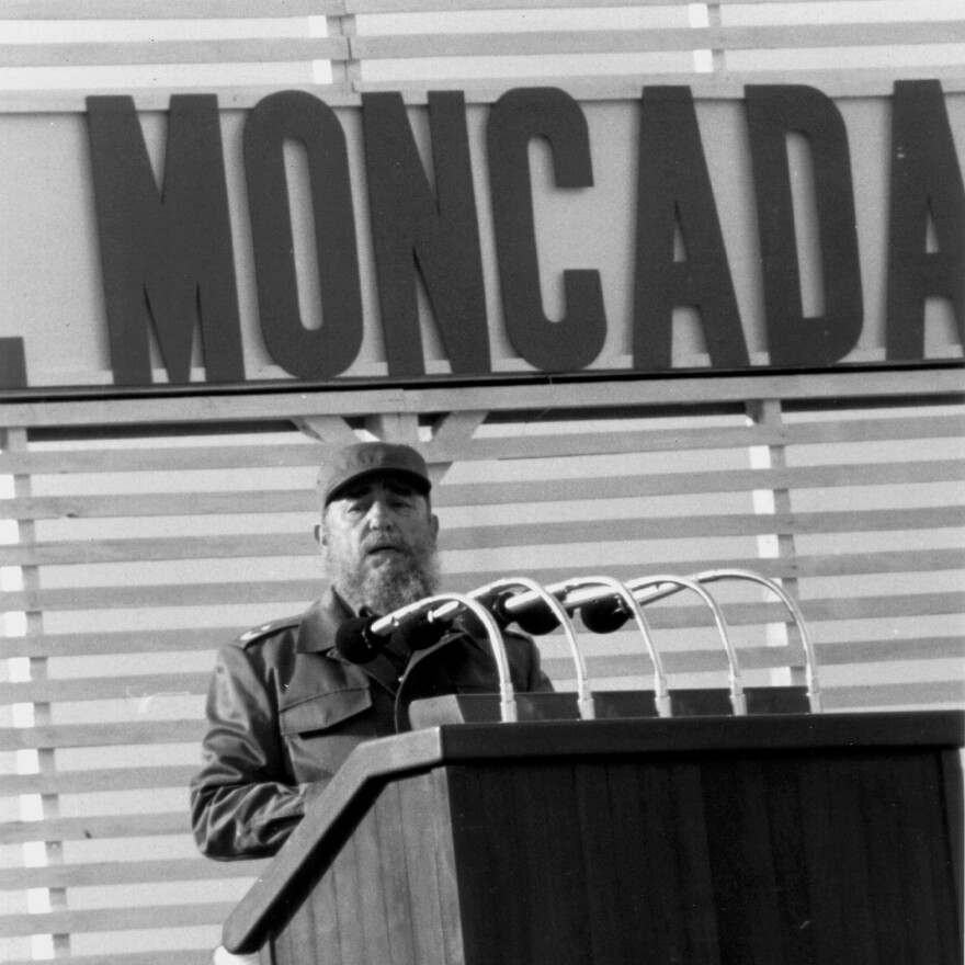 Fidel Castro delivers a speech in 1988, on what was then the 35th anniversary of his failed assault on the Moncada barracks.