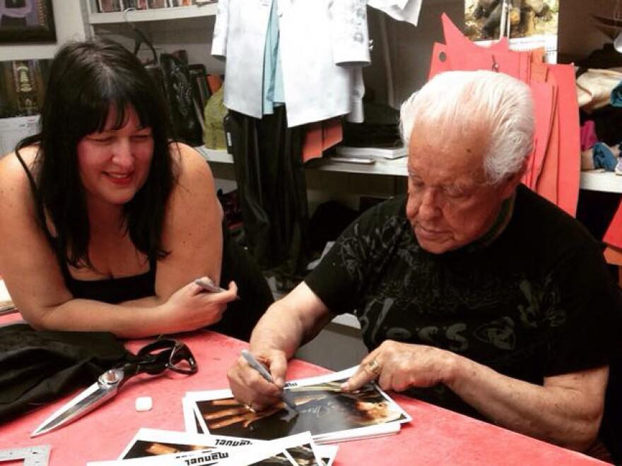 Morelia Cuevas and her father, Manuel Cuevas, in his workshop.