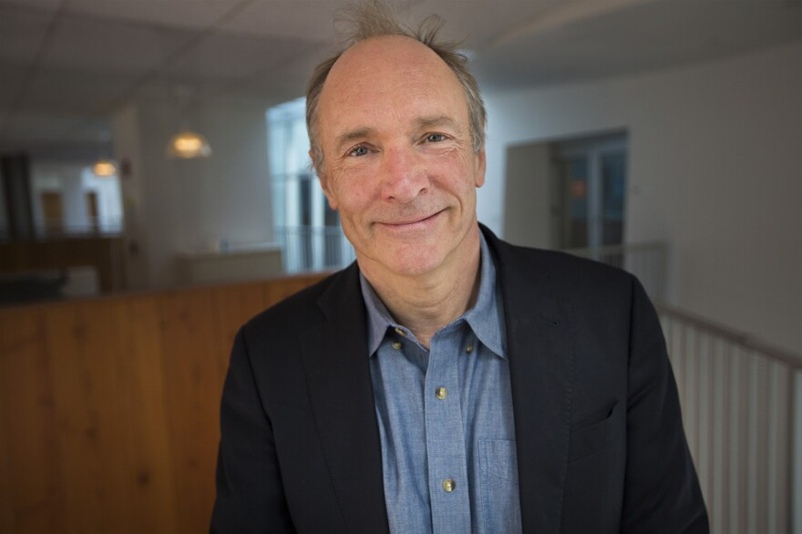 Tim Berners-Lee at the CSAIL research laboratory at MIT. (Jesse Costa/WBUR)