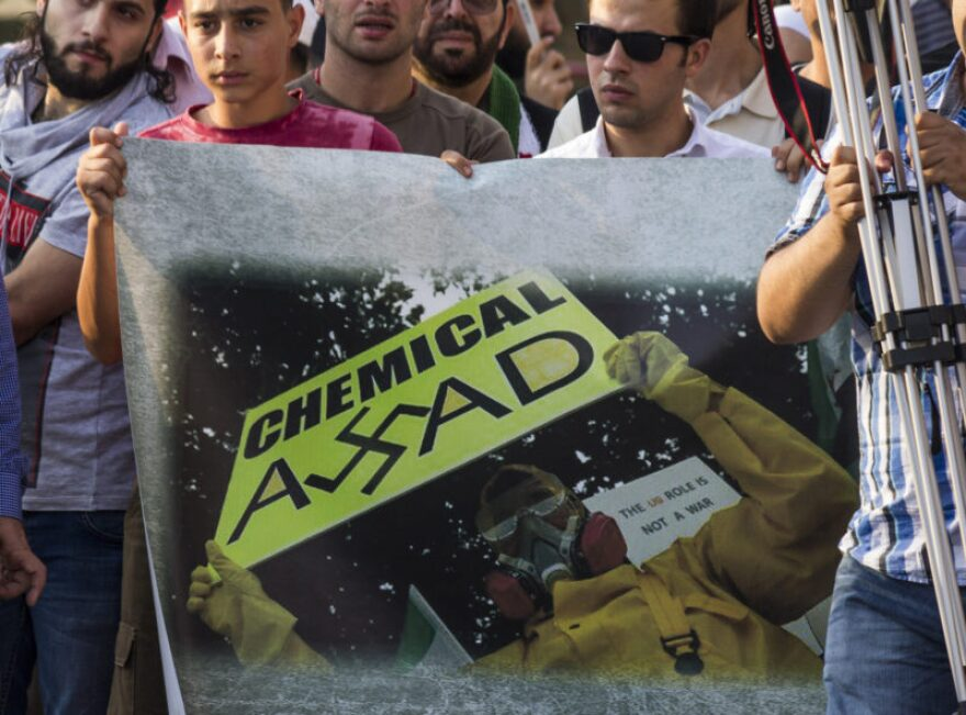 A 2015 demonstration in Berlin marking the two-year anniversary of the 2013 chemical weapons attack in Damascus, Syria.