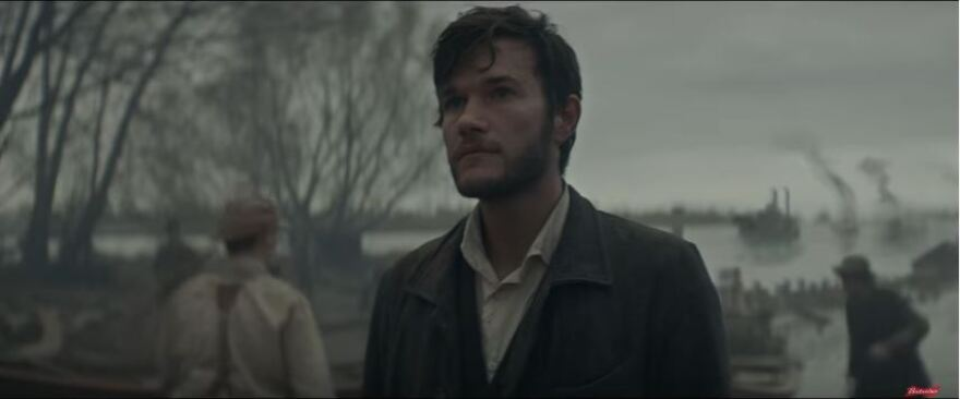 A screengrab of Budweiser's Super Bowl advertisement, highlighting the young Adolphus Busch.