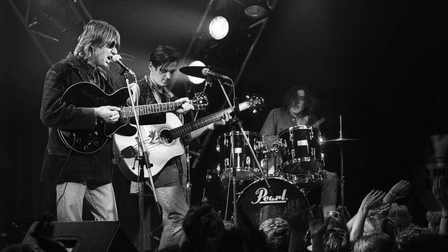 Talk Talk — from left, Mark Hollis, Paul Webb and Lee Harris — performing on the show <em>Countdown </em>in Bussum, Netherlands on Feb. 25, 1986.