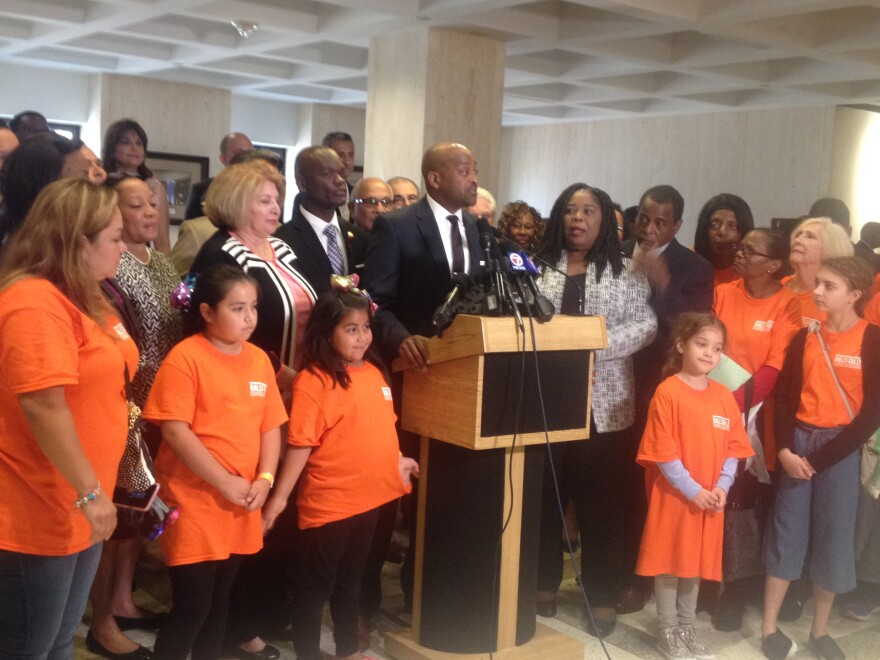 Join by gun reform advocates who came to Tallahassee as well as House and Senate lawmakers, Sen. Democratic Leader Oscar Braynon speaks to reporters during a press conference.