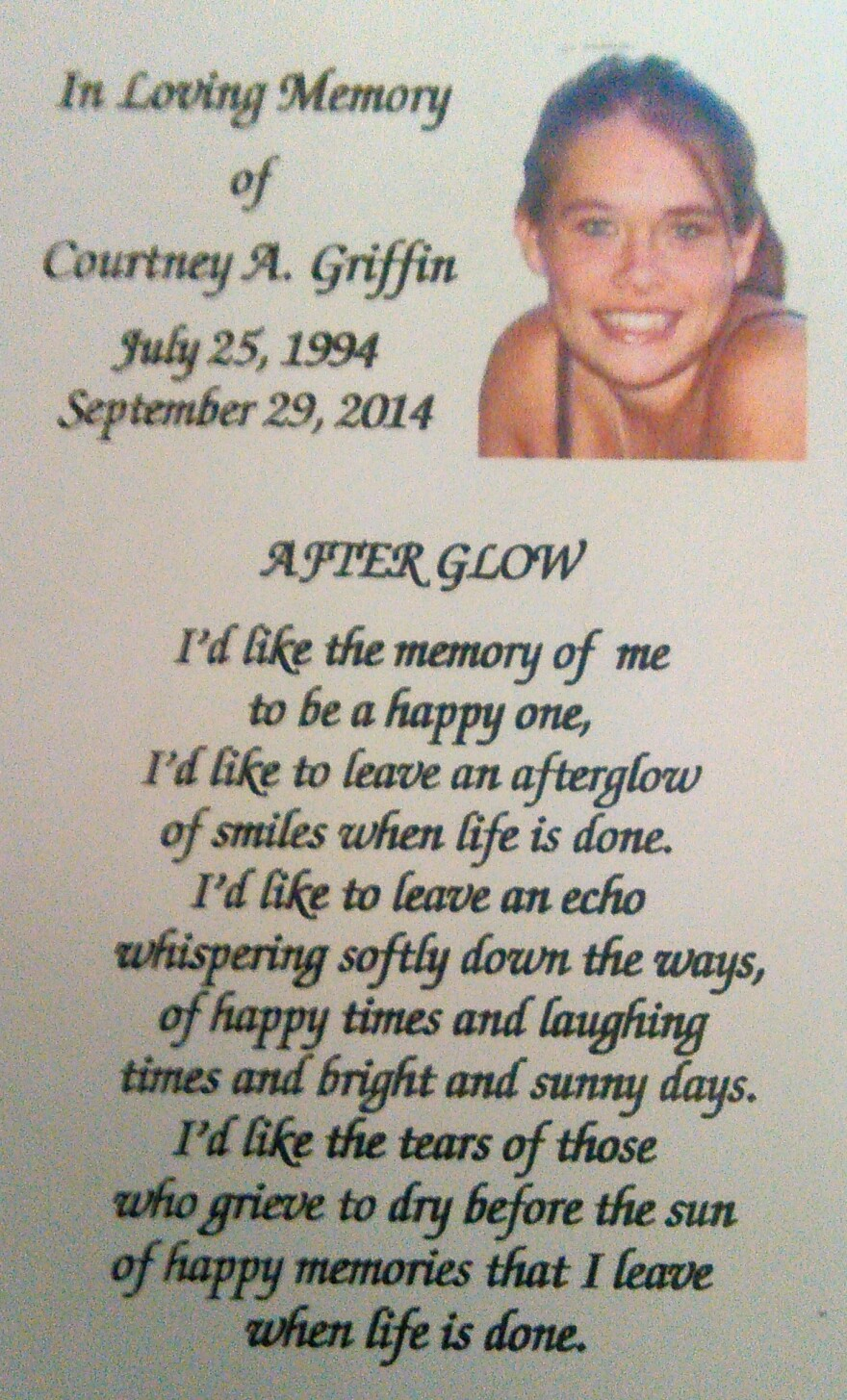 A prayer card from the funeral of Courtney Griffin.