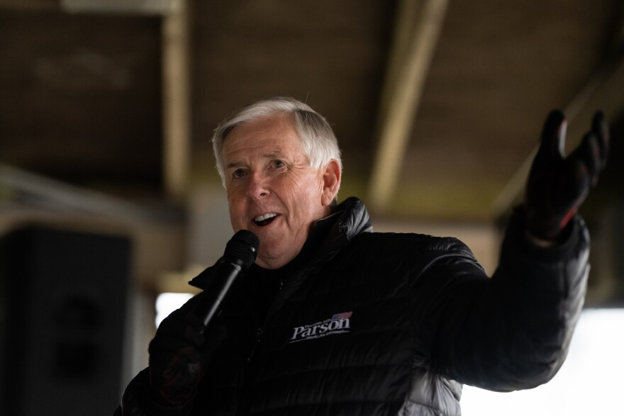 Gov. Mike Parson addressed supporters at a campaign stop Tuesday, Oct. 27, 2020, at Arnold City Park in Jefferson County. The Bolivar, Missouri, Republican is running to retain his seat as governor against Auditor Nicole Galloway, a Democrat.