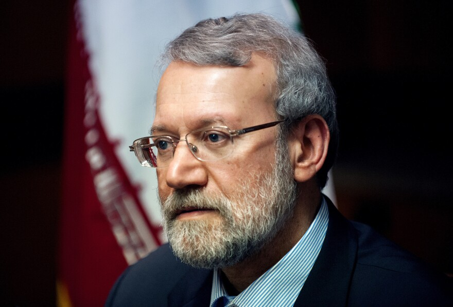 The head of Iran's parliament, Ali Larijani, speaks with NPR's Steve Inskeep in New York on Thursday. Larijani addressed the recent nuclear agreement between world powers and Iran.
