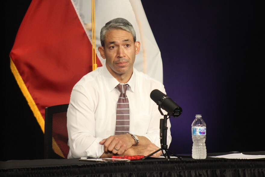Mayor Ron Nirenberg speaks at a COVID-19 briefing on July 16, 2020 about a backlog that led to more than 5,000 cases being reported in one day.