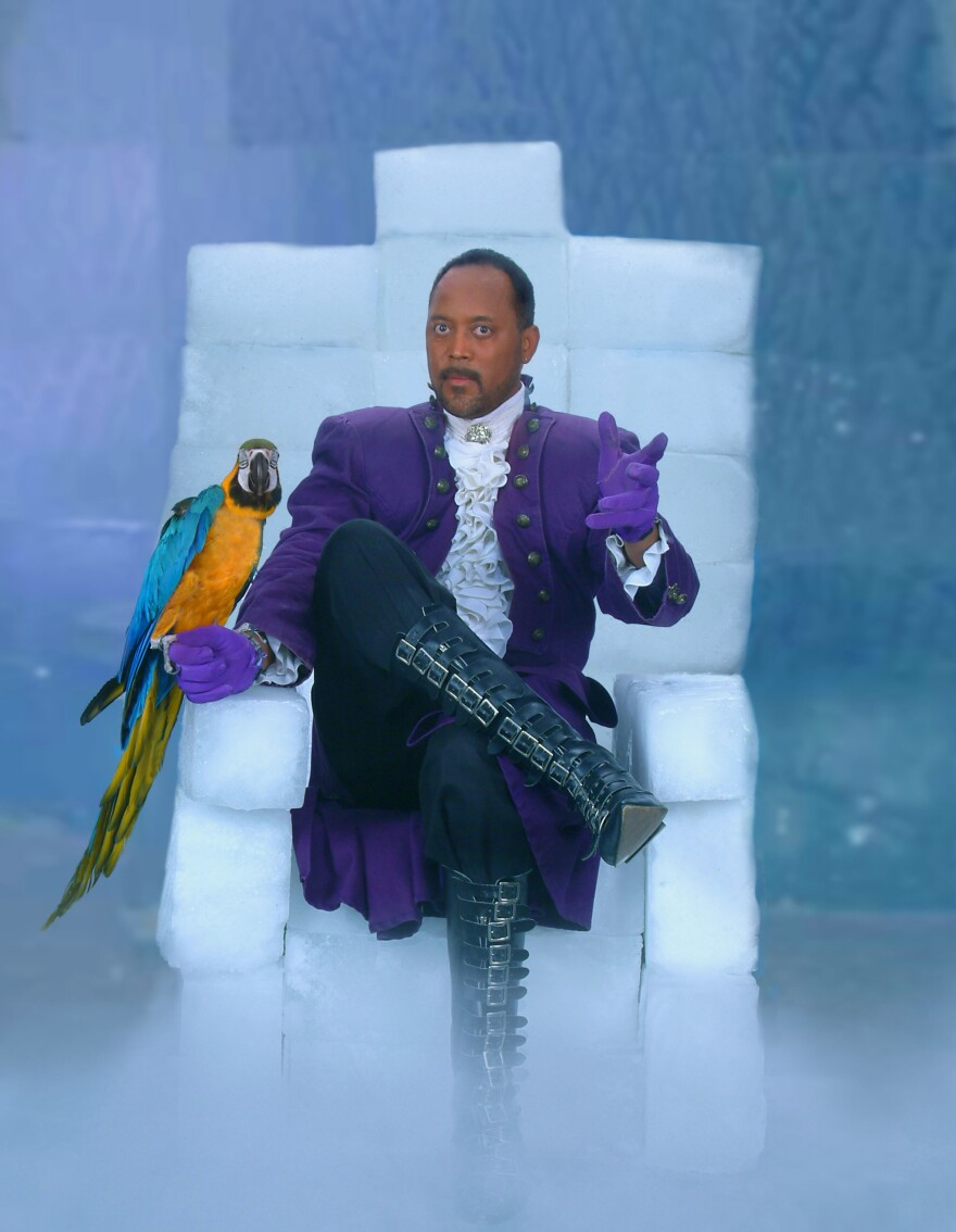 "Kenrick ""ICE"" McDonald performs a number of tricks involving his macaw. ICE, he says, stands for Illusions, Captivation, Enchantment."