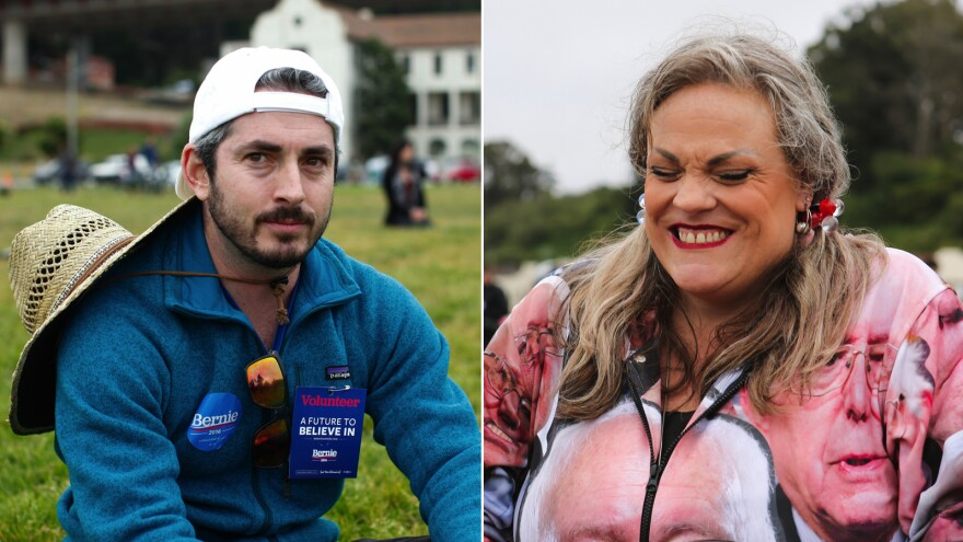 Sanders supporters Aaron Selverston (left) and Genei Baker both hoped to see Sanders' campaign move forward despite Hillary Clinton becoming the presumptive nominee for the Democratic Party on Monday.