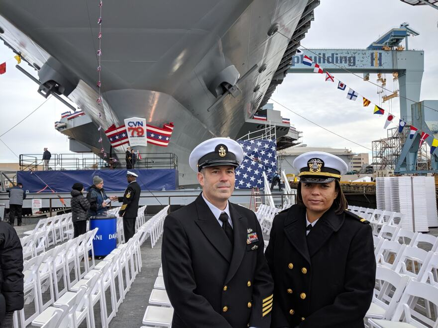 Sailors Dave Adkins (left) and Cheyenne Scarbrough (right) have both served on aircraft carriers before. They're two of the 250 service members who have checked on board as crew of the USS John F. Kennedy. By the time it is commissioned into the US Naval Fleet in 2022, it will carry an estimated crew of more than 2,000.