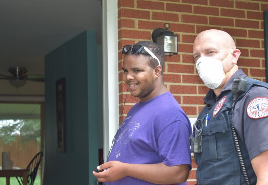 Officer Mark Brown and Karron Yoakum
