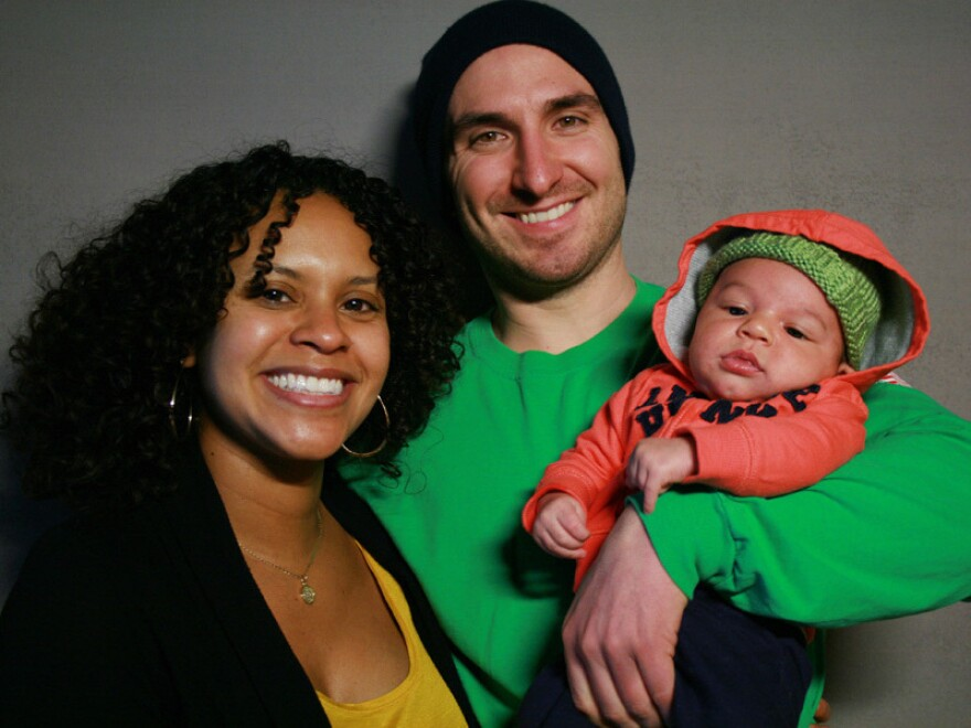 Sophy Medina and Thomas Olsen with their son, Luca. The couple spent their first Valentine's Day together fighting the same fire — before ending up in the hospital.