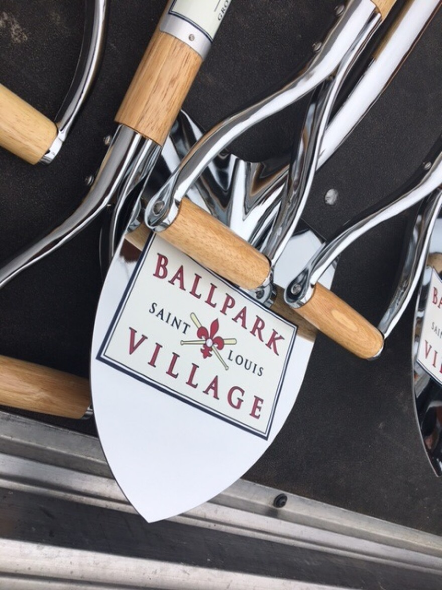 Officials and dignitaries used ceremonial shovels to symbolically break ground on the second phase of Ballpark Village on Dec. 14, 2016.
