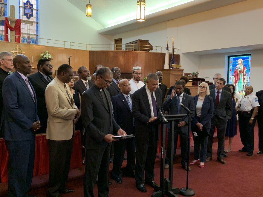 St. Louis faith leaders, elected officials and community leaders gathered at Lane Tabernacle CME Church to address the city's gun violence among children. August 30, 2019