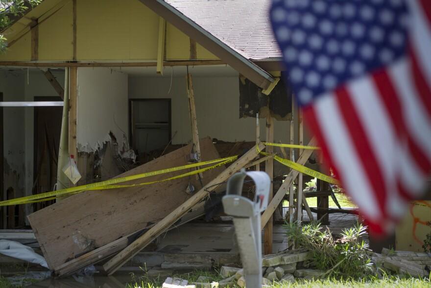 Flood damage in the Thoroughbred Estates neighborhood of Austin.