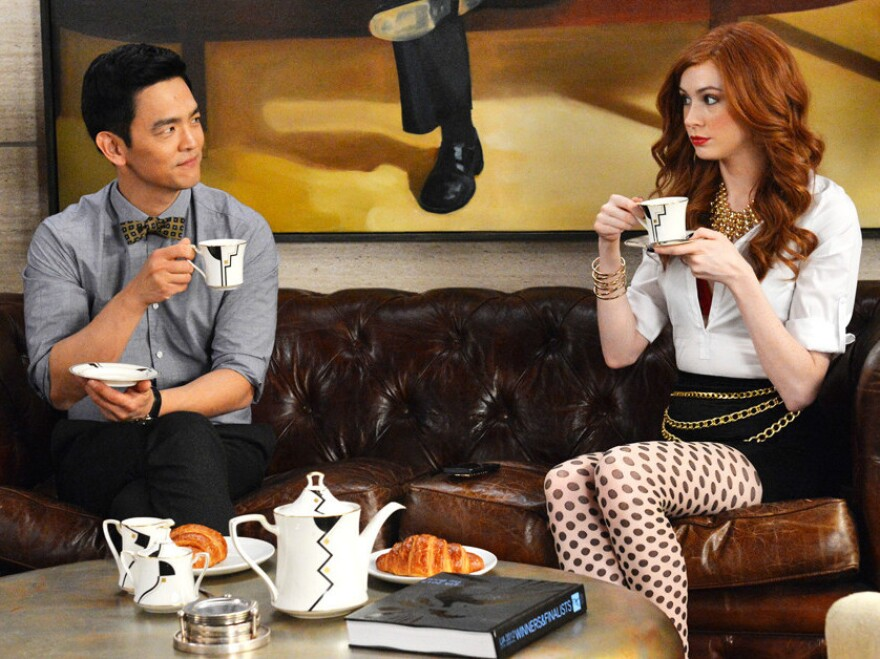 John Cho (left) appears with Karen Gillan in the new ABC comedy <em>Selfie</em>.