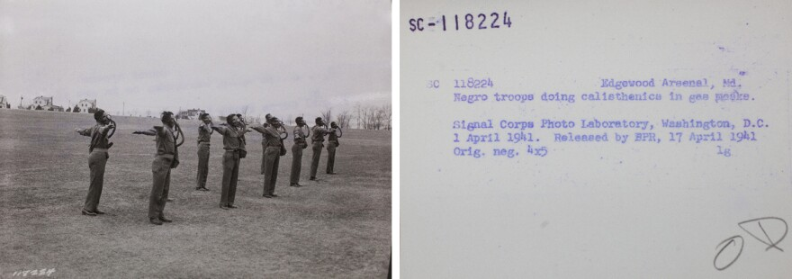 Segregated troops practice movement in protective gear at Edgewood Arsenal in Maryland in the early 1940s.