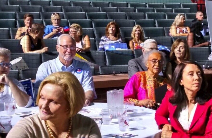 U.S. Sen. Claire McCaskill, left foreground, and attorney Frankie Freeman, second from right, were featured at the Democrats' Truman Dinner.