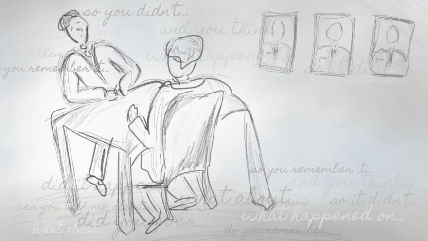 sketched drawing of two men at a table.