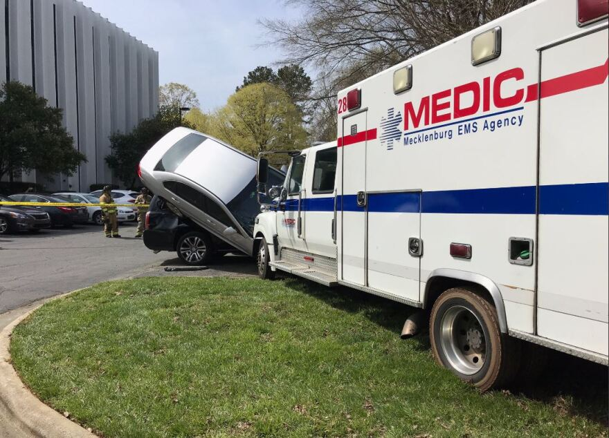 A Mecklenburg EMS ambulance was stolen Monday, April 1, while responding to a call on Executive Center Drive.
