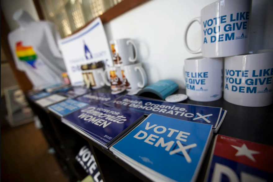 Democratic mugs, stickers and buttons in Texas.