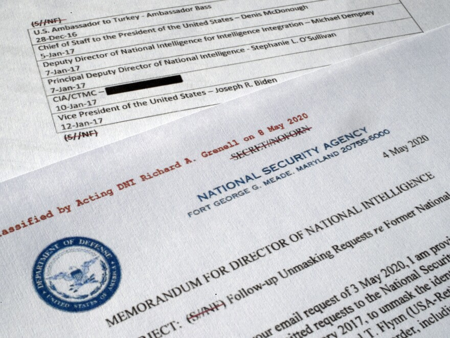 A declassified document with names of Obama administration officials who could have potentially made requests for the unmasking of Michael Flynn's name.