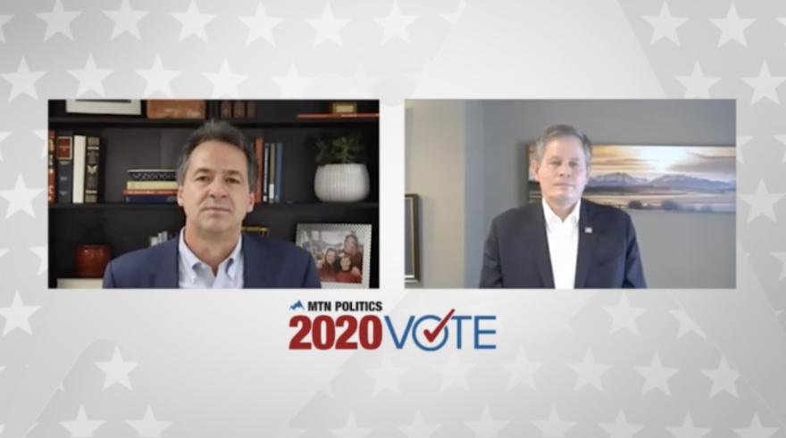 """A screenshot of Gov. Steve Bullock and Sen. Steve Daines over the logo """"MTN Politics 2020 Vote."""""""