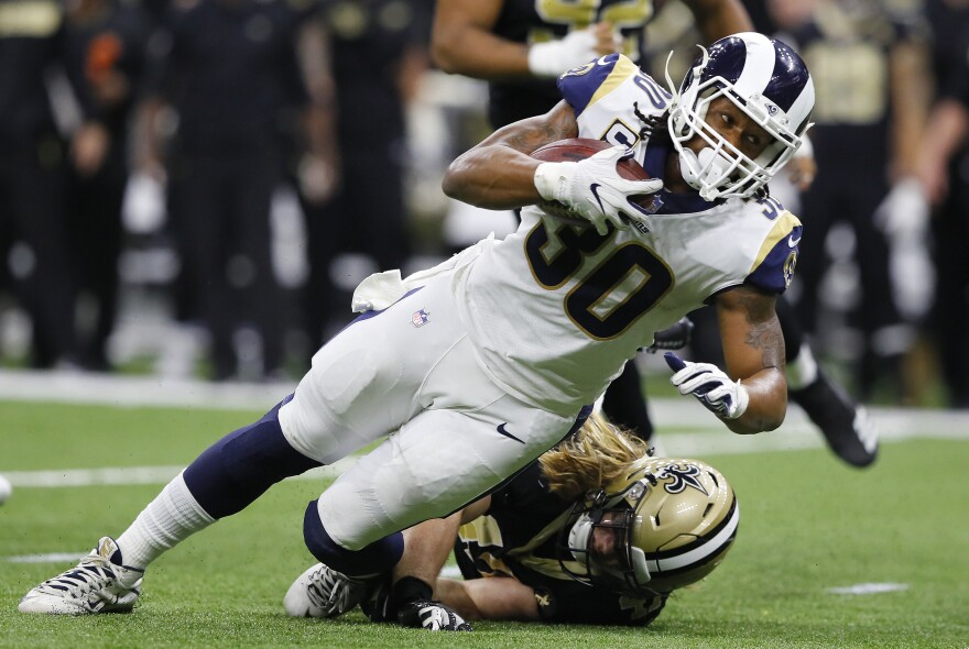 Todd Gurley of the Los Angeles Rams runs the ball during the fourth quarter in the NFC Championship game on Jan. 20, 2019.