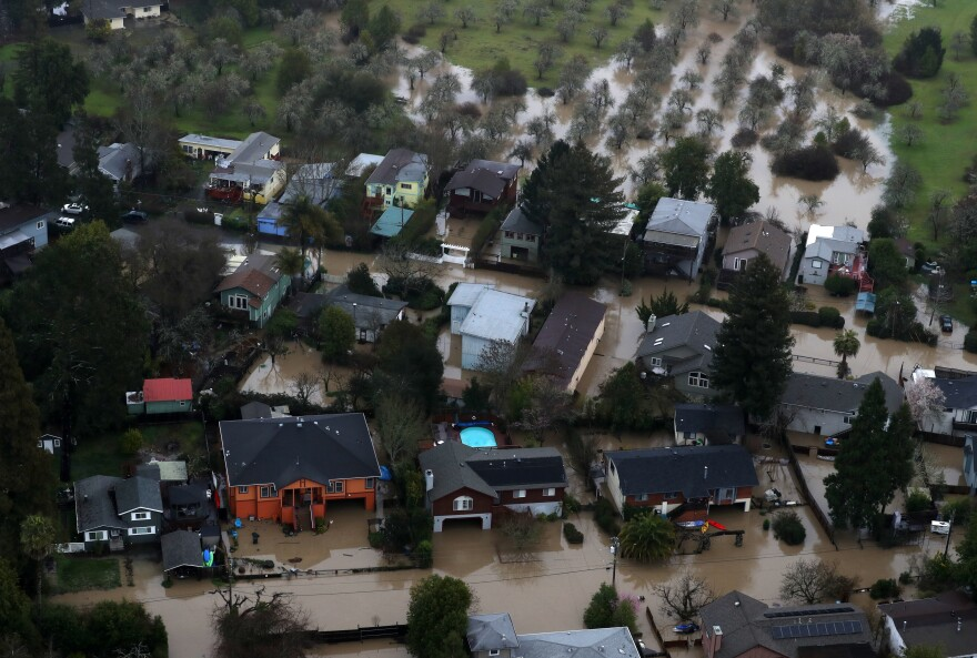 A neighborhood sits in floodwaters near Guerneville.