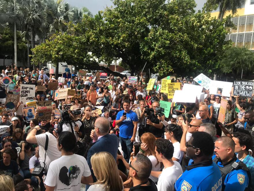 Students Protest for Action Against Climate Change Outside Miami Beach City Hall
