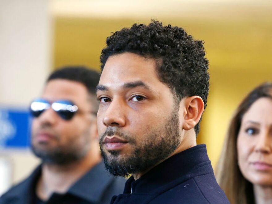 Jussie Smollett, in court in Chicago in March 2019 after charges were dropped against the actor.