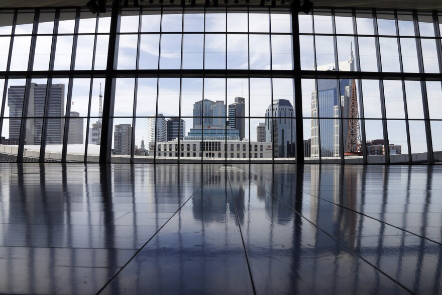 In this April 10, 2014, file photo, a new event hall overlooks the Nashville skyline at the Country Music Hall of Fame and Museum in Nashville, Tenn. (Mark Humphrey/AP)
