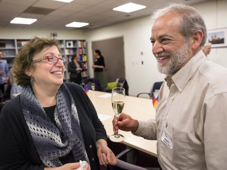 Larry Klein celebrates his German citizenship with his wife Amy Gilman.