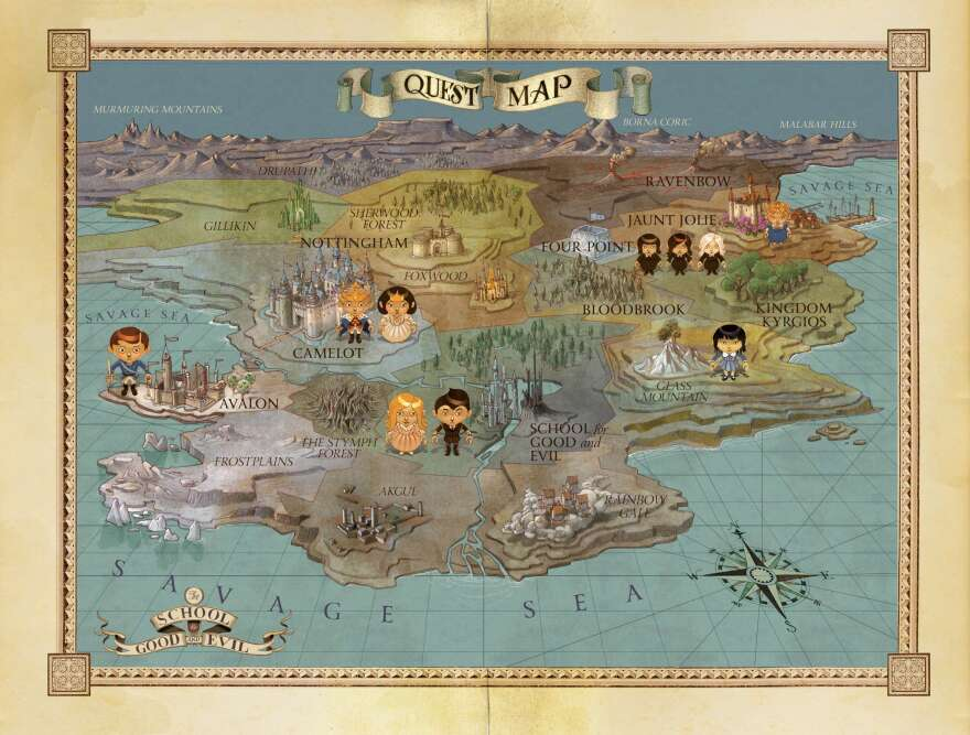 """This map appears at the beginning of Soman Chainani's<em> </em>latest book in """"The School for Good and Evil"""" series, <em>Quests for Glory.</em>"""