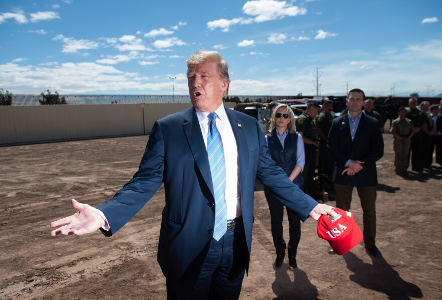 President Trump tours a portion of the border wall between the United States and Mexico in Calexico, Calif., last month.