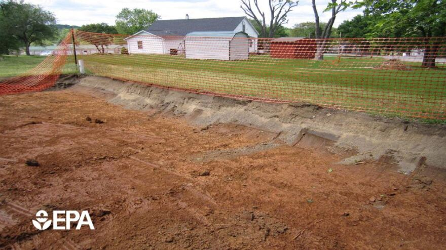 A photo of a yard the Environmental Protection Agency is removing lead pollution from.