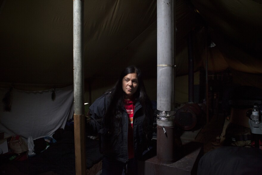 Kareen Lewis, a member of the Little River Band of Ottawa tribe, has bounced back and forth for months between home, in Hart, Michigan, and the Oceti Sakowin camp.