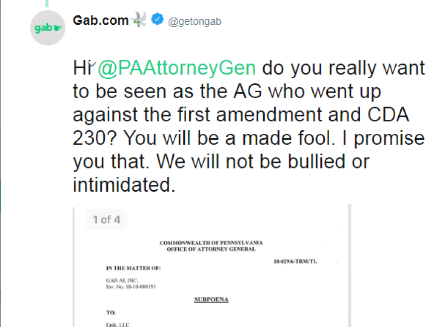 On Wednesday, Gab tweeted a screenshot of the subpoena, but later deleted the tweet.