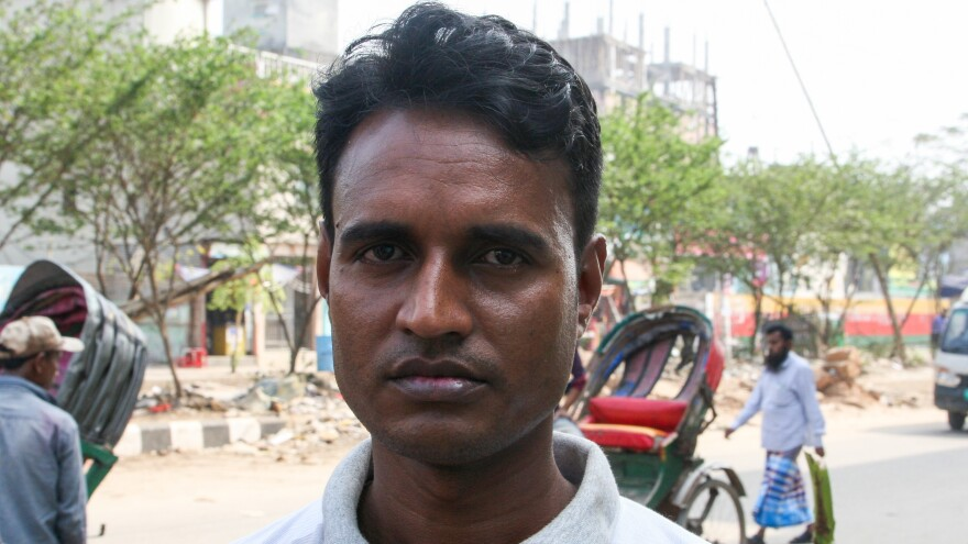 "Mohammad Kiron Mia, 36, has worked abroad twice in Oman, as a tailor and then a gardener. He says he can earn twice as much there as in Bangladesh and that these jobs are a chance ""to make a better life for my family and my children."""