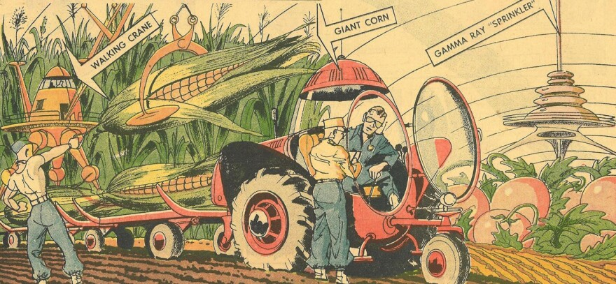 Arthur Radebaugh imagined gigantic crops in his syndicated Sunday comic strip <em>Closer Than We Think, </em>which ran from 1958 until 1963.
