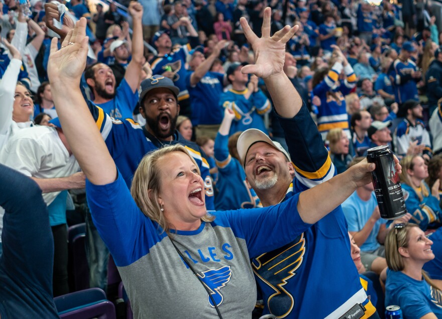 St. Louis Blues fans erupted at a Game 7 watch party at the Enterprise Center in St. Louis on Wednesday night as the team won its first Stanley Cup in franchise history by defeating the Boston Bruins 4-1 in Boston. June 12, 2019