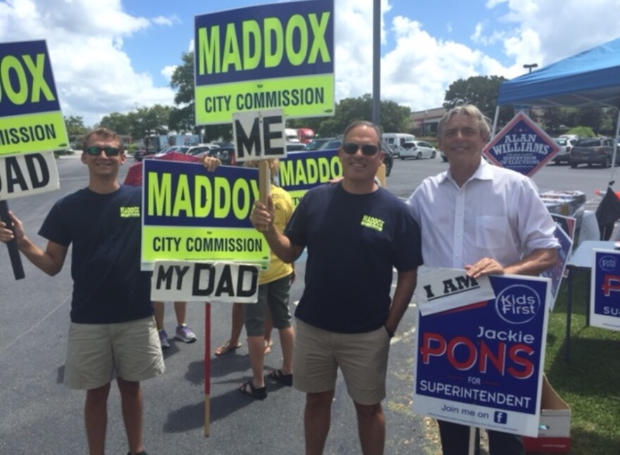 Leon School Superintendent Jackie Pons (right) with City Commissioner Scott Maddox campaigning.