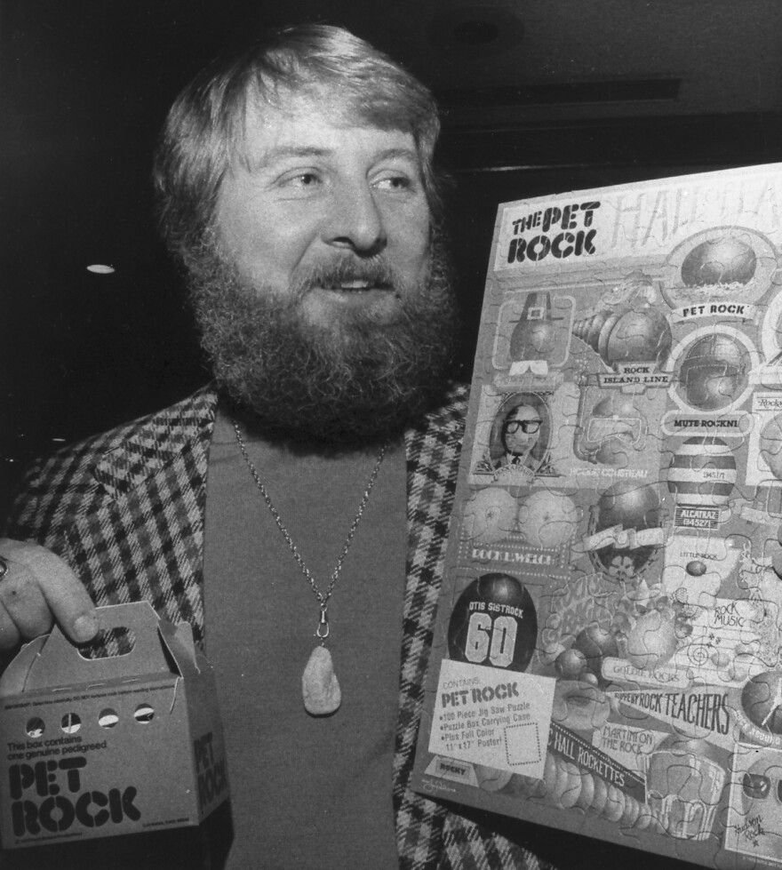 Pet Rock creator Gary Ross Dahl became a millionaire from his rock sales in the 1970s. Each rock came in a special box (bottom left) with a detailed instruction manual.