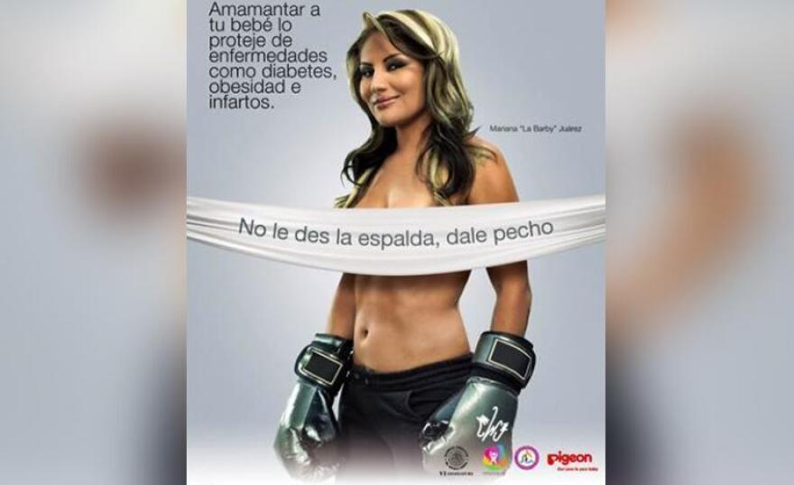 "A Mexico City breast-feeding campaigned used posters featuring topless celebrities. At least ""La Barbie,"" a female boxer (shown here), had her boxing gloves on."