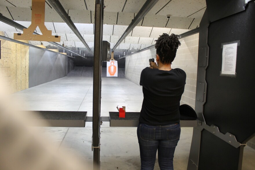 Women meet at Sharpshooters Pit & Grill to learn about guns and practice shooting on the range.